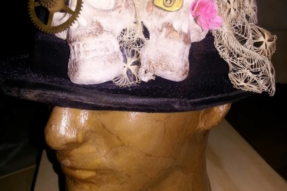 Day of the dead inspired,Steampunk day of the dead skull top hat