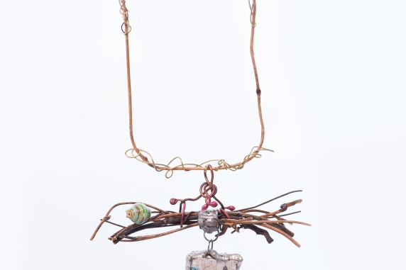 recycled conponents boho necklace