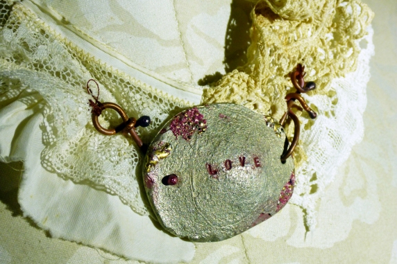 Tattered lace necklace with Iced Enamels on pewter
