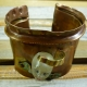 Resin face fold formed cuff bracelet with green patina