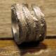Unisex pewter organic wood look ring