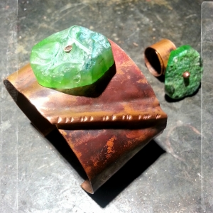 Copper cuff and ring with green stone