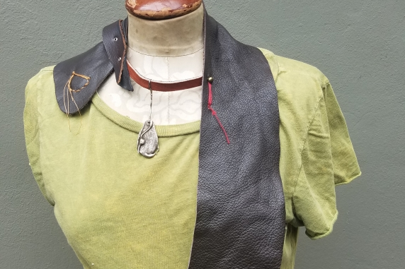 organic jewelry brown bohemian leather vest style bib necklace