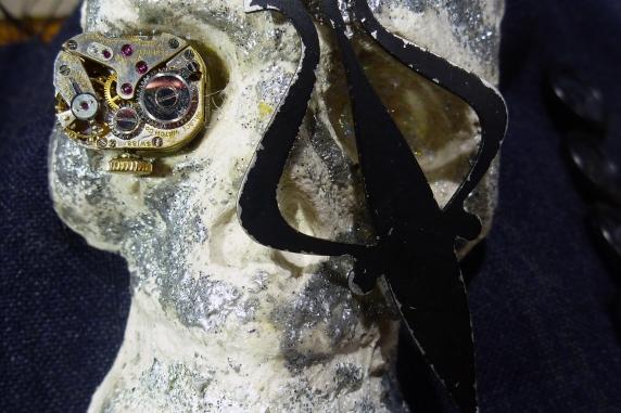 Day of the dead Edwardian men's skull cuff bracelet
