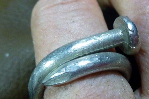 Unisex pewter nail ring