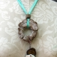 Cholla disc necklace with enameled #8 and a bottlecap accent