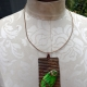 Green jasper recycled tin can prong necklace
