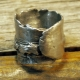 Blackened unisex organic pewter nugget terrain ring