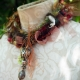 Yarn fringe mixed media charm necklace