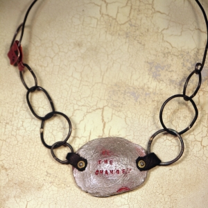 """Be the change"" pewter bracelet necklace conversion"