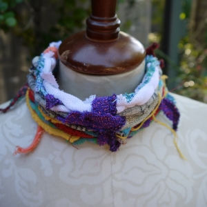 Colorful boho yarn choker