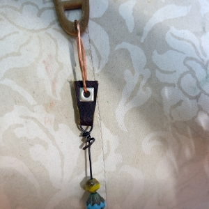 Concrete dangle charm holder with leather and Czech glass