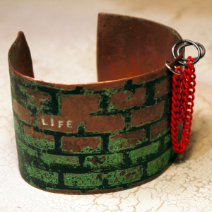 "Etched copper cuff ""life"" obstacles and hoops"
