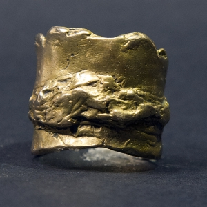 Bronze unisex organic nugget terrain ring
