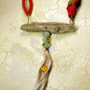 Wood look concrete driftwood necklace with Czech glass